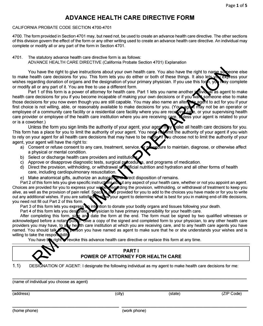 california advanced health care directive form blank pdf fill able